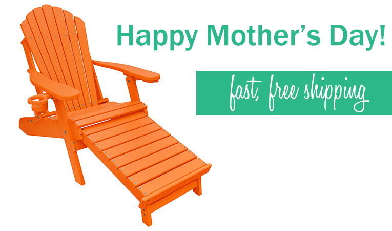 Mother's Day Gift Ideas- Deluxe Adirondack Chair with Integrated Footrest