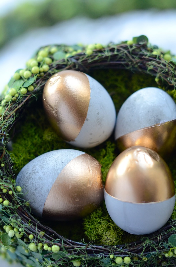 Cement Eggs Dipped in Gold