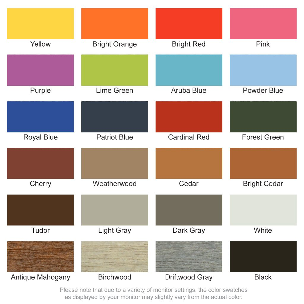 Poly Lumber Color Swatches