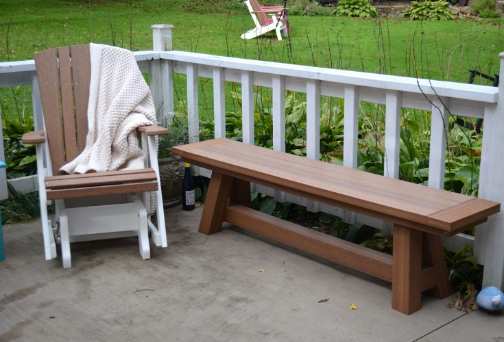 Harbor Single Glider in Antique Mahogany and White and Montauk Bench in Antique Mahogany