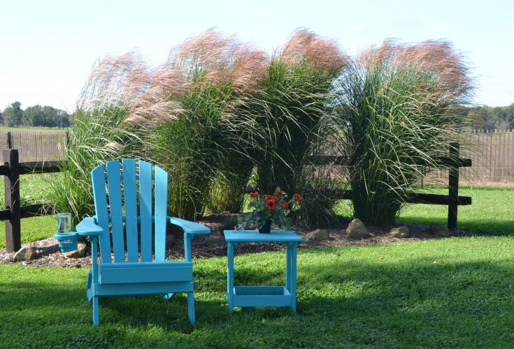 Outer Banks Value Line Adirondack Chair in Aruba Blue and Side Table in Aruba Blue