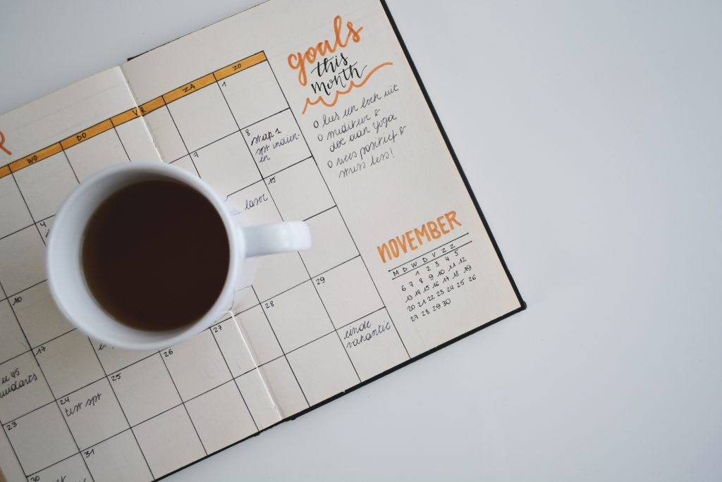 Goal Planner Open with Coffee
