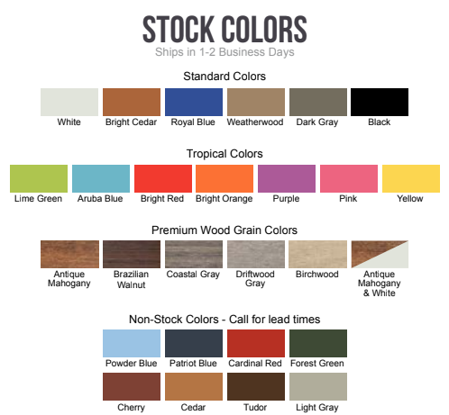 ECCB Outdoor Deluxe Adirondack Chair Stock Colors