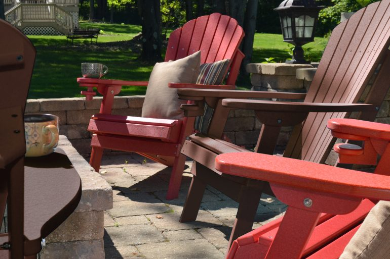 ECCB Outdoor Adirondack Chairs Around Fire Pit