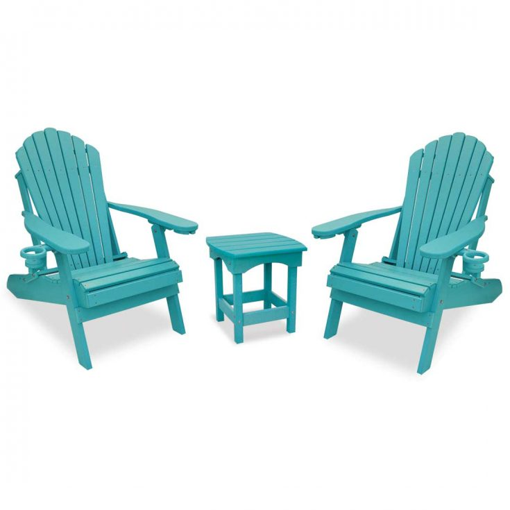 Deluxe Adirondack Chairs with Harbor Side Table in Aruba Blue