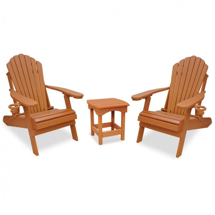 Deluxe Adirondack Chairs with Harbor Side Table in Bright Cedar