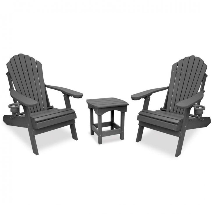 Deluxe Adirondack Chairs with Harbor Side Table in Dark Gray