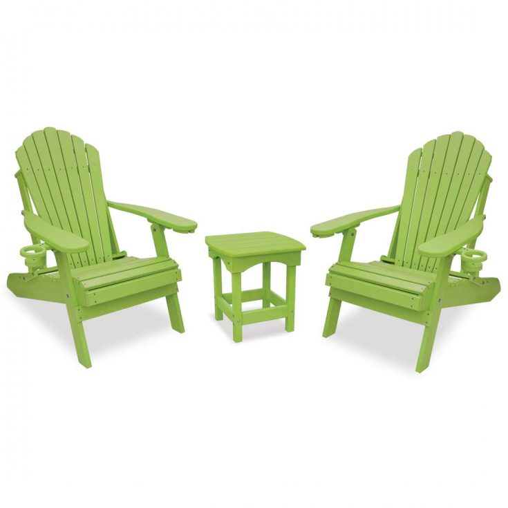 Deluxe Adirondack Chairs with Harbor Side Table in Lime Green