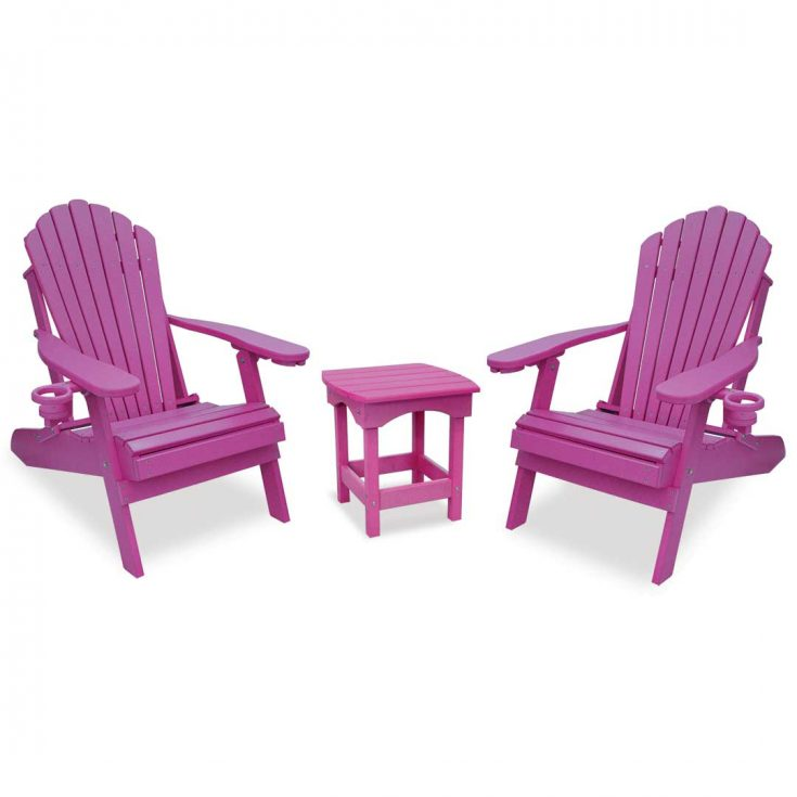 Deluxe Adirondack Chairs with Harbor Side Table in Purple