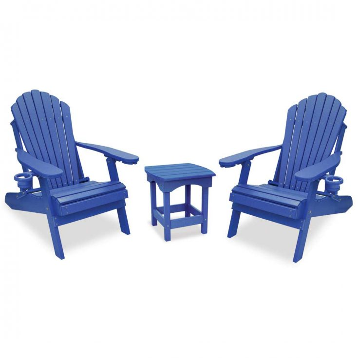 Deluxe Adirondack Chairs with Harbor Side Table in Royal Blue