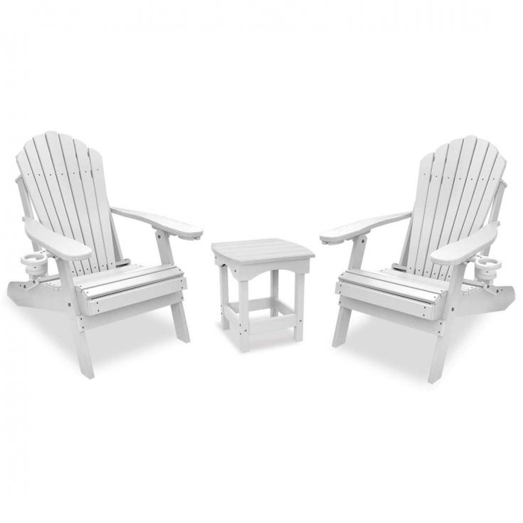 Deluxe Adirondack Chairs with Harbor Side Table in White
