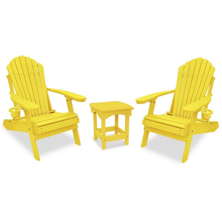 Deluxe Adirondack Chairs with Harbor Side Table in Yellow