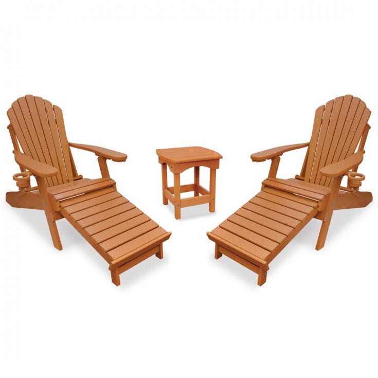 Deluxe Adirondack Chairs with Integrated Footrest with Harbor Side Table in Bright Cedar