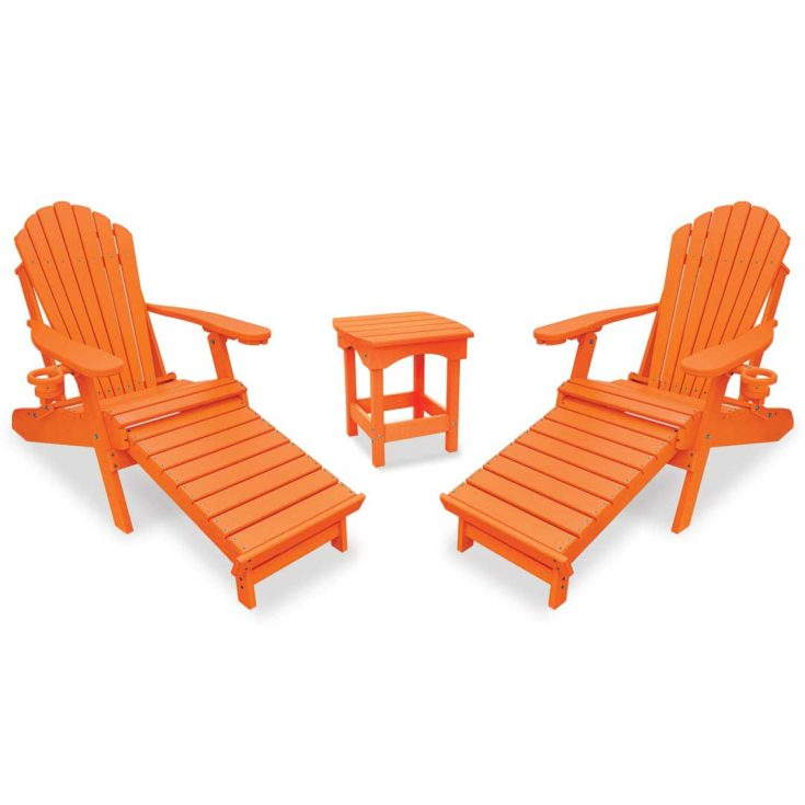 Deluxe Adirondack Chairs with Integrated Footrest with Harbor Side Table in Bright Orange