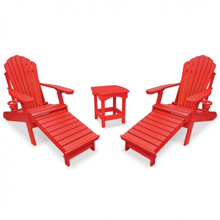 Deluxe Adirondack Chairs with Integrated Footrest with Harbor Side Table in Bright Red