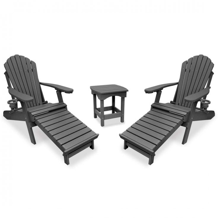 Deluxe Adirondack Chairs with Integrated Footrest with Harbor Side Table in Dark Gray