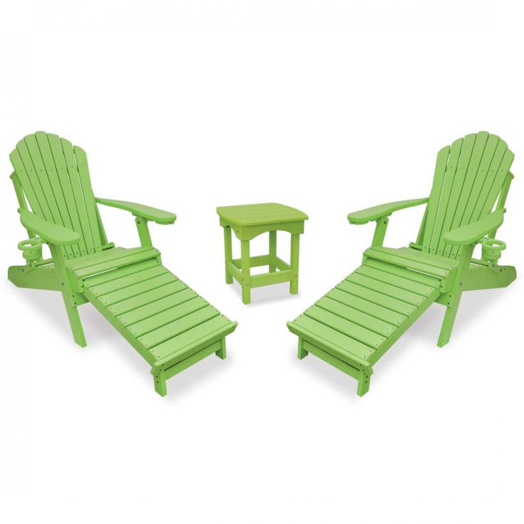 Deluxe Adirondack Chairs with Integrated Footrest with Harbor Side Table in Lime Green