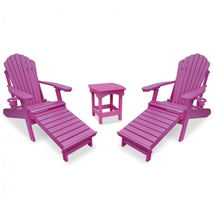 Deluxe Adirondack Chairs with Integrated Footrest with Harbor Side Table in Purple