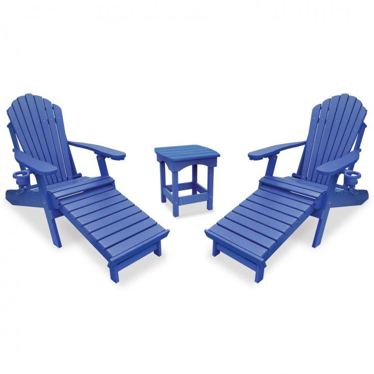 Deluxe Adirondack Chairs with Integrated Footrest with Harbor Side Table in Royal Blue
