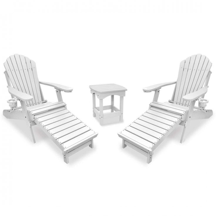 Deluxe Adirondack Chairs with Integrated Footrest with Harbor Side Table in White