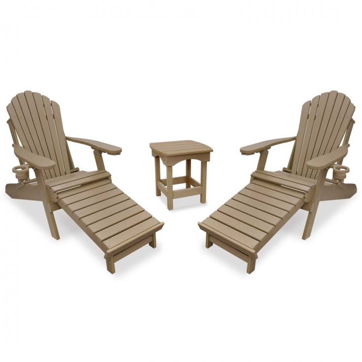 Deluxe Adirondack Chairs with Integrated Footrest with Harbor Side Table in Weatherwood