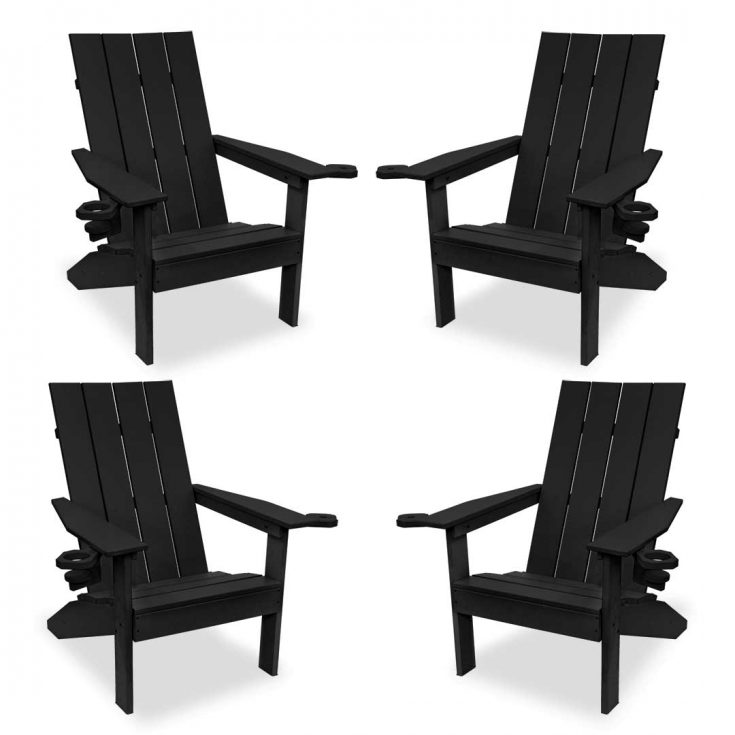 Set of 4 Creek Side Adirondack Chairs in Black