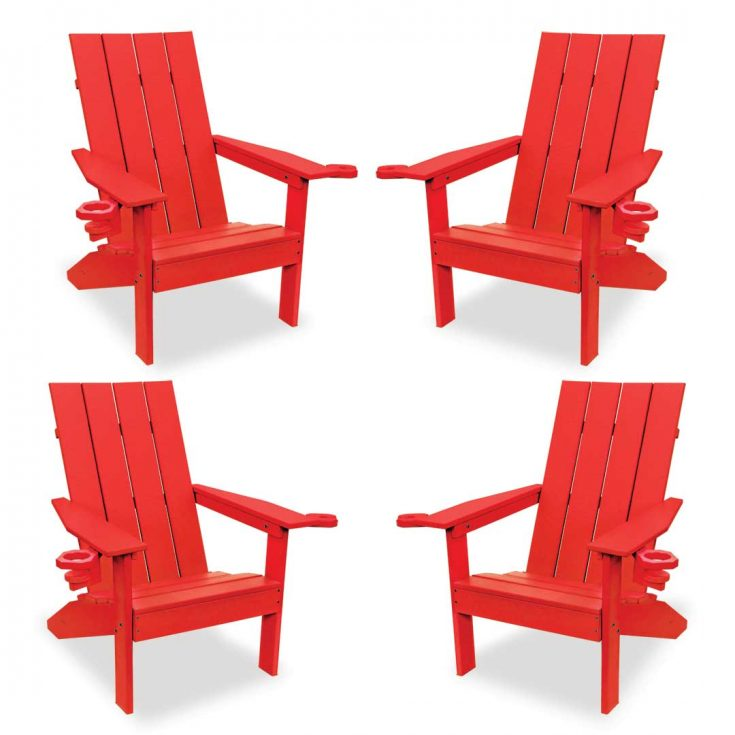 Set of 4 Creek Side Adirondack Chairs in Bright Red