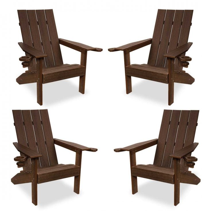 Set of 4 Creek Side Adirondack Chairs in Brazilian Walnut
