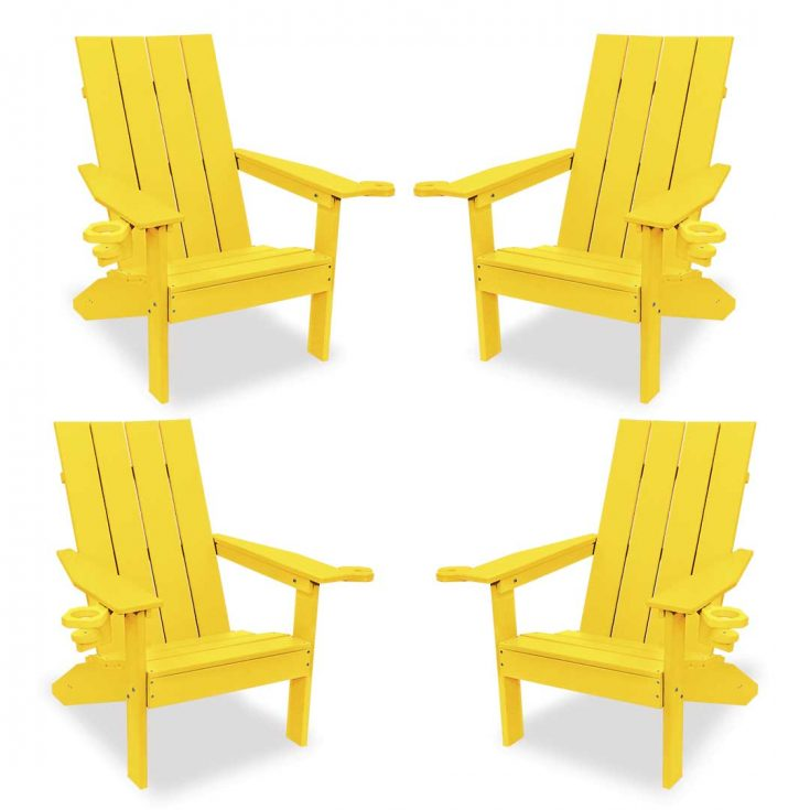 Set of 4 Creek Side Adirondack Chairs in Yellow