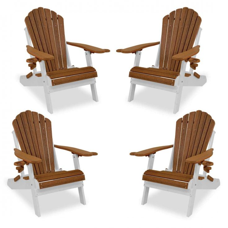 Set of 4 Deluxe Adirondack Chairs in Antique Mahogany/White