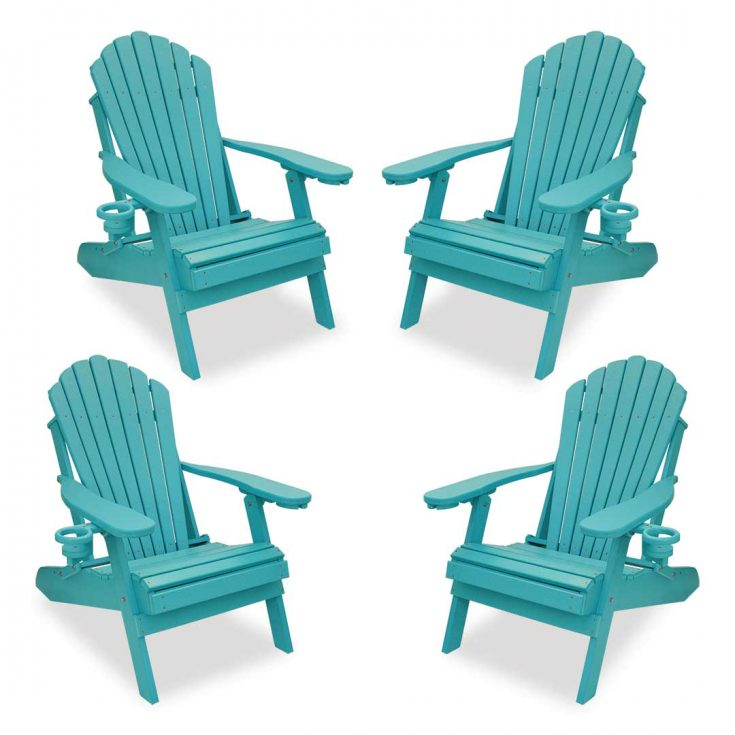 Set of 4 Deluxe Adirondack Chairs in Aruba Blue
