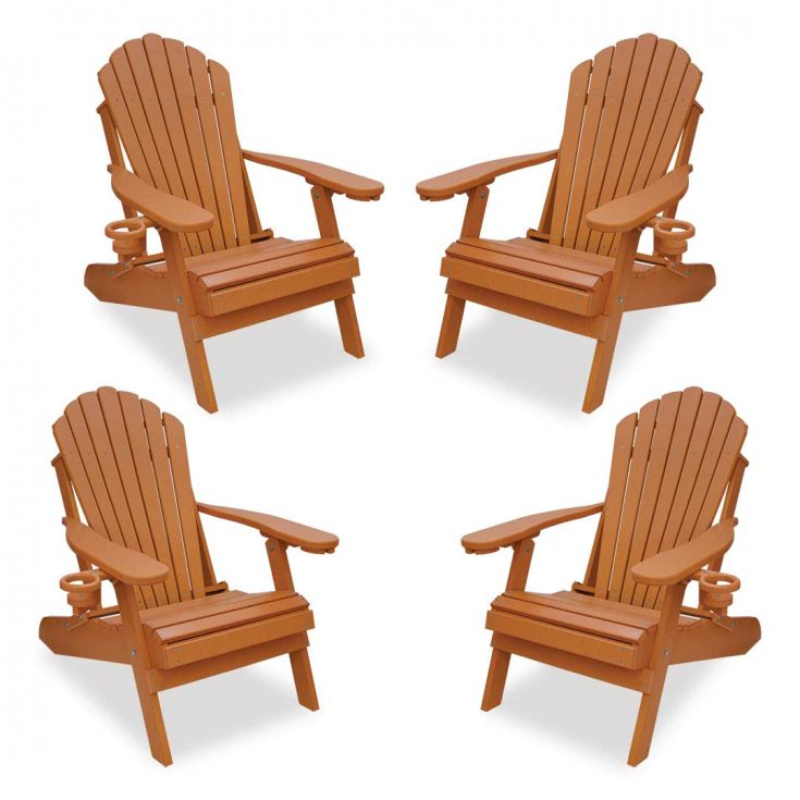 Set of 4 Deluxe Adirondack Chairs in Bright Cedar