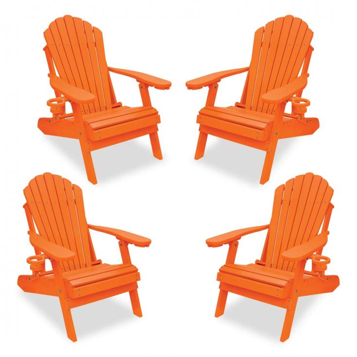 Set of 4 Deluxe Adirondack Chairs in Bright Orange