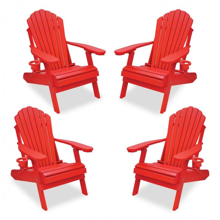 Set of 4 Deluxe Adirondack Chairs in Bright Red