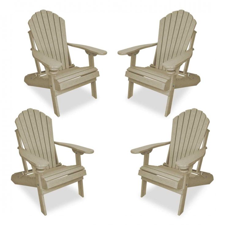 Set of 4 Deluxe Adirondack Chairs in Birchwood