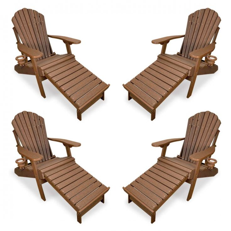 Set of 4 Deluxe Adirondack Chairs with Integrated Footrest in Antique Mahogany