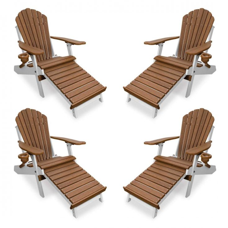 Set of 4 Deluxe Adirondack Chairs with Integrated Footrest in Antique Mahogany/White
