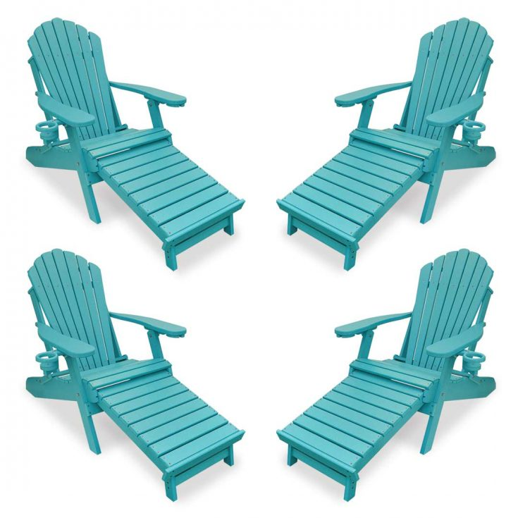 Set of 4 Deluxe Adirondack Chairs with Integrated Footrest in Aruba Blue