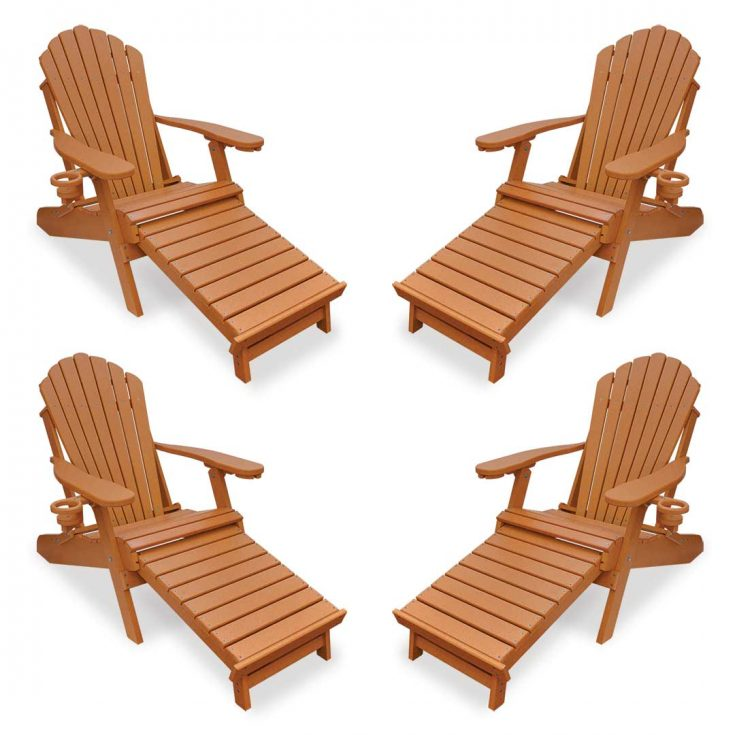 Set of 4 Deluxe Adirondack Chairs with Integrated Footrest in Bright Cedar