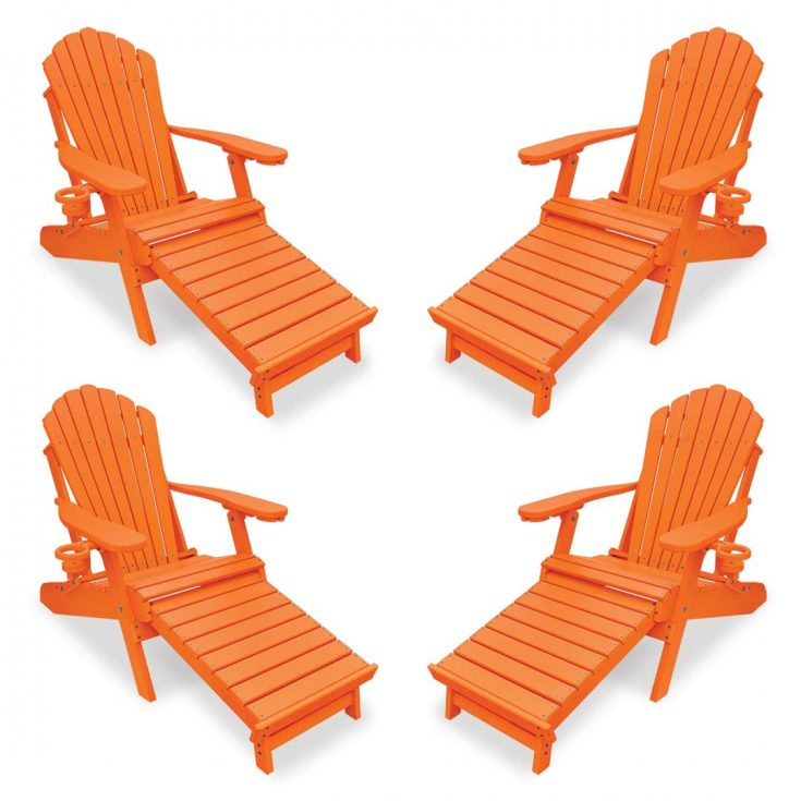 Set of 4 Deluxe Adirondack Chairs with Integrated Footrest in Bright Orange