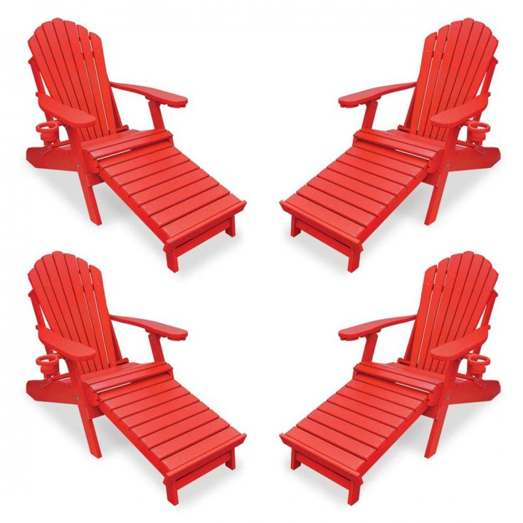 Set of 4 Deluxe Adirondack Chairs with Integrated Footrest in Bright Red