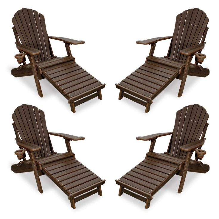 Set of 4 Deluxe Adirondack Chairs with Integrated Footrest in Brazilian Walnut
