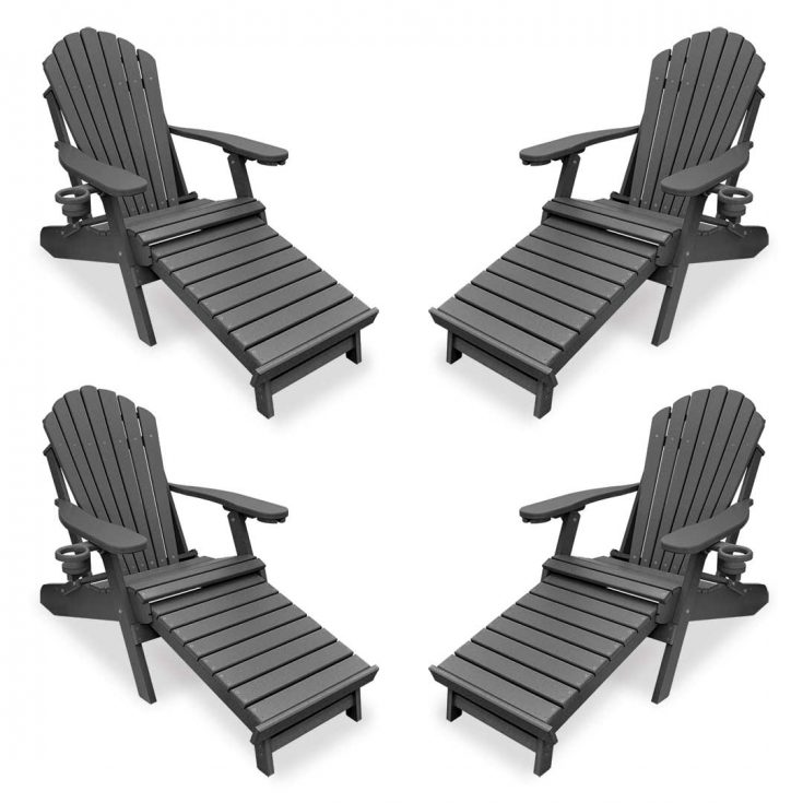 Set of 4 Deluxe Adirondack Chairs with Integrated Footrest in Dark Gray