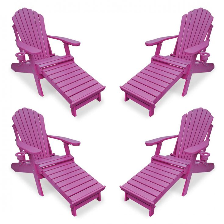 Set of 4 Deluxe Adirondack Chairs with Integrated Footrest in Purple