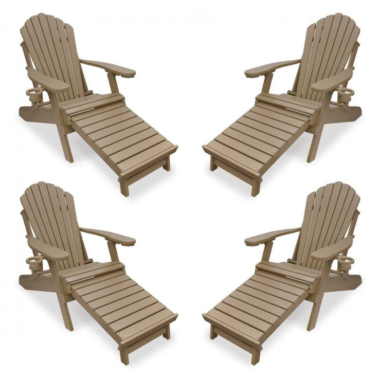 Set of 4 Deluxe Adirondack Chairs with Integrated Footrest in Weatherwood