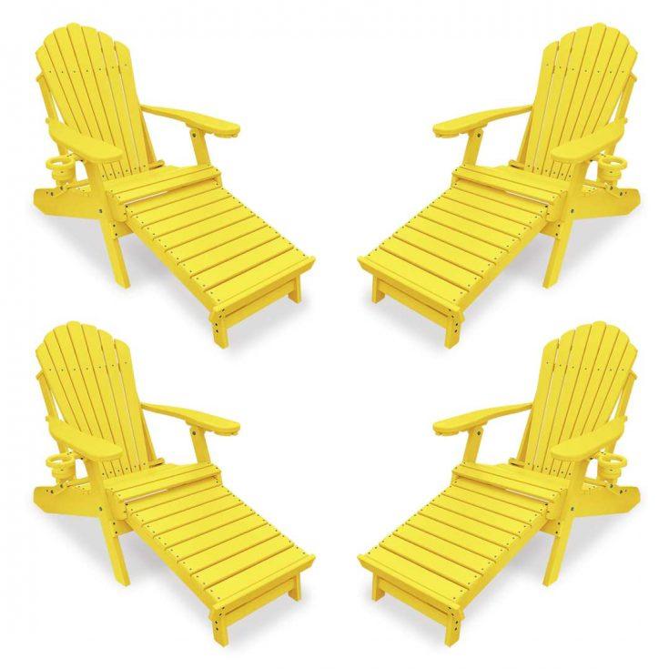 Set of 4 Deluxe Adirondack Chairs with Integrated Footrest in Yellow