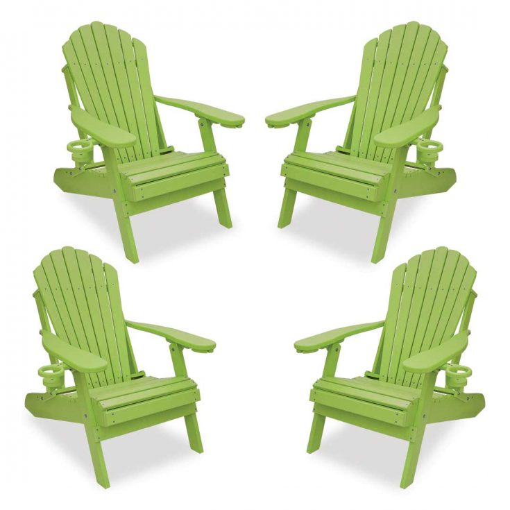 Set of 4 Deluxe Adirondack Chairs in Lime Green