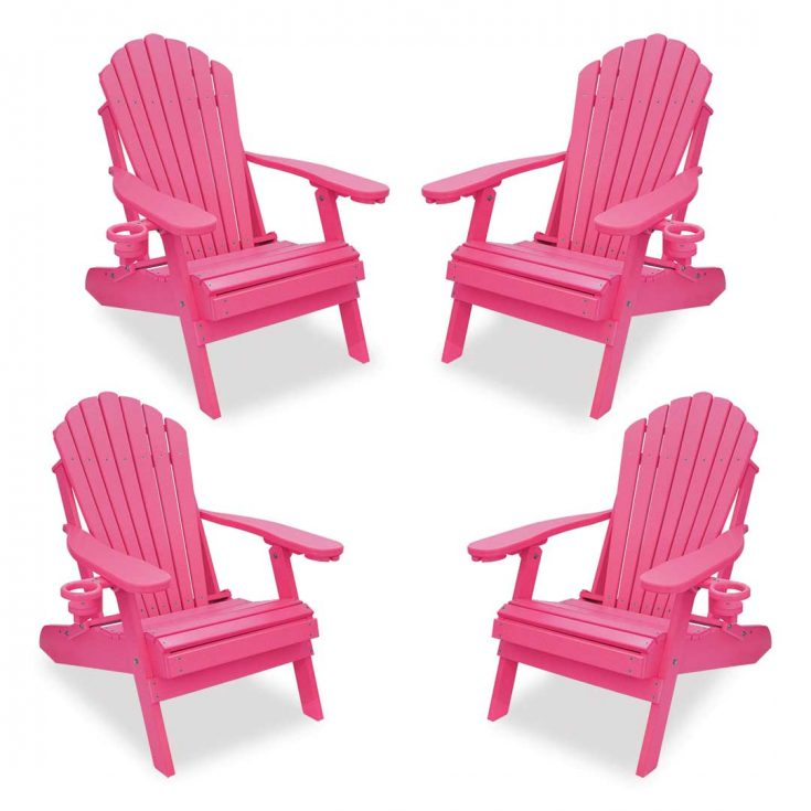Set of 4 Deluxe Adirondack Chairs in Pink