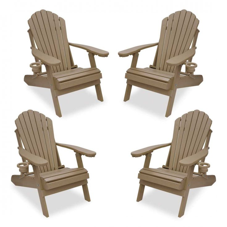 Set of 4 Deluxe Adirondack Chairs in Weatherwood