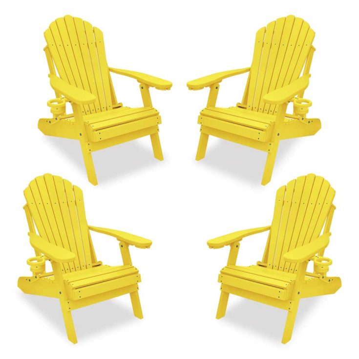 Set of 4 Deluxe Adirondack Chairs in Yellow